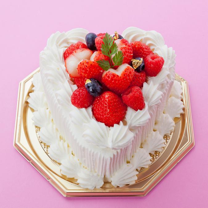ハート型生クリームデコレーションケーキ4