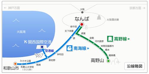 南海線の単純な路線図