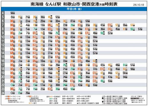 なんば駅-和歌山&関空方面行きの時刻表