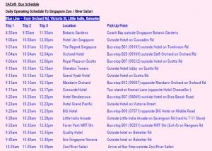 Singapore ZOO SAEx Bus Suchedule 2016-10-08