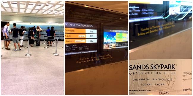 Marina Bay Sands to Sky Park ticket 2016-10-09