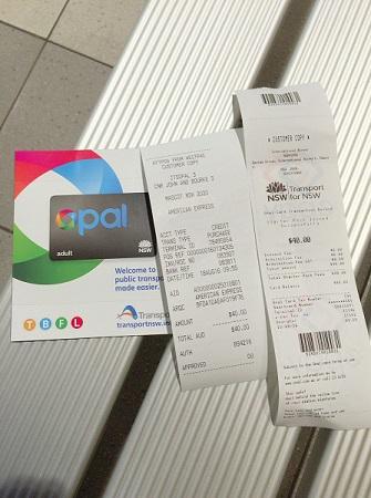 オーストラリア シドニー空港内 Opalカード購入時のレシート