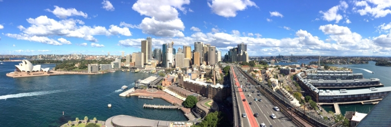 オーストラリア シドニー パイロンルックアウトから見たオペラハウスとサーキュラー・キーなど、パノラマビュー