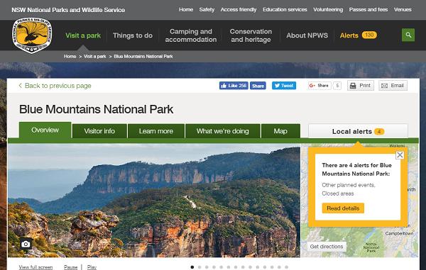 ブルーマウンテンズ国立公園 世界遺産 公式ホームページ