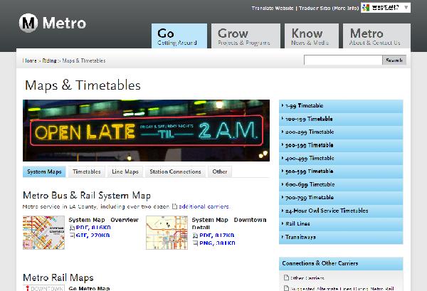 LA METORO アメリカ ロサンゼルスのメトロ 地下鉄公式ホームページ