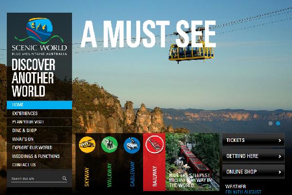 オーストラリア ブルーマウンテンズ国立公園のシーニックワールドの公式ホームページ