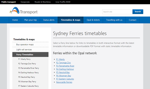 SydneyFerries オーストラリア シドニー・フェリー 公式ホームページ