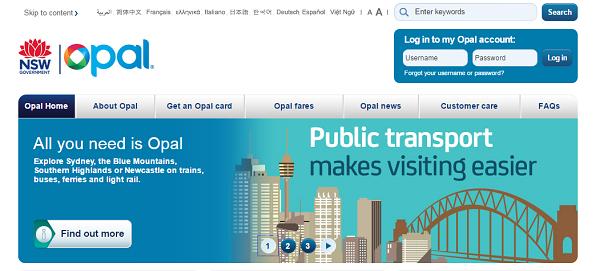オーストラリアNSWOpalカード公式ホームページ