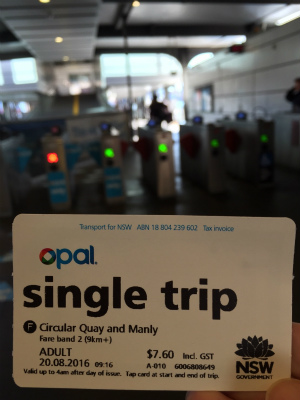 オーストラリア シドニー オーパル Opal フェリー サーキュラーキー シングルトリップ・チケット 片道券