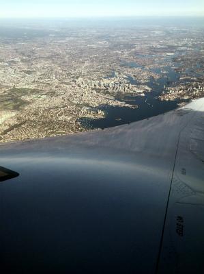 全日空 ANA NH879便 羽田 シドニー便 早朝 ハーバーブリッジ オペラハウス 空から見える
