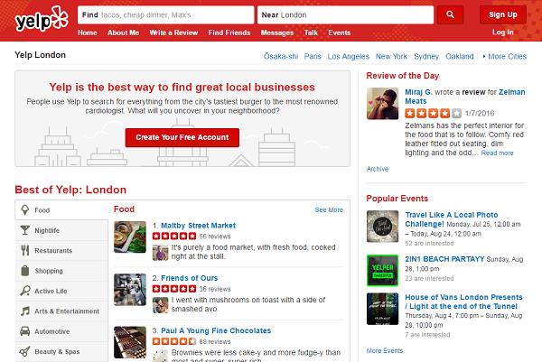 yelp 海外グルメサイト レストラン検索 イェルプ 公式ホームページ