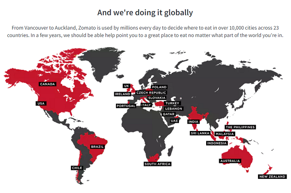 zomatoMap 海外グルメ検索サイト サービス提供中のエリア(国)の地図