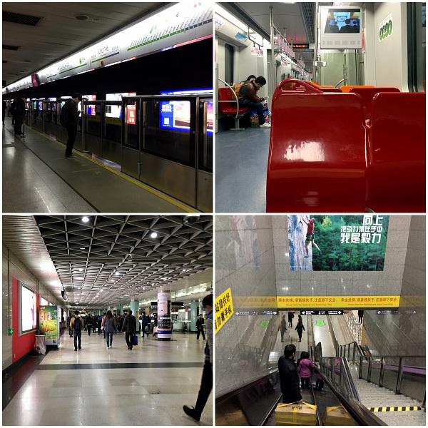上海地下鉄乗り換え、ホーム、車内