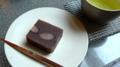[茶][菓子]うおがし銘茶「茶・銀座」2階、長野柴田の紅花いんげん蒸し羊羹