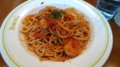 [食]ソニービルのゆで上げスパゲッティ専門店「あるでん亭」(えびトマト)