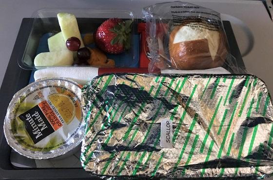 デルタ航空 機内食 ほたての炊き込みご飯