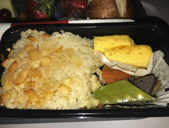 デルタ航空 機内食 ホタテの炊き込みご飯