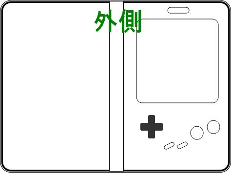 ゲームボーイスマホカバー外側再現図