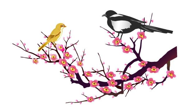 梅の木の枝にとまっている2羽の鳥