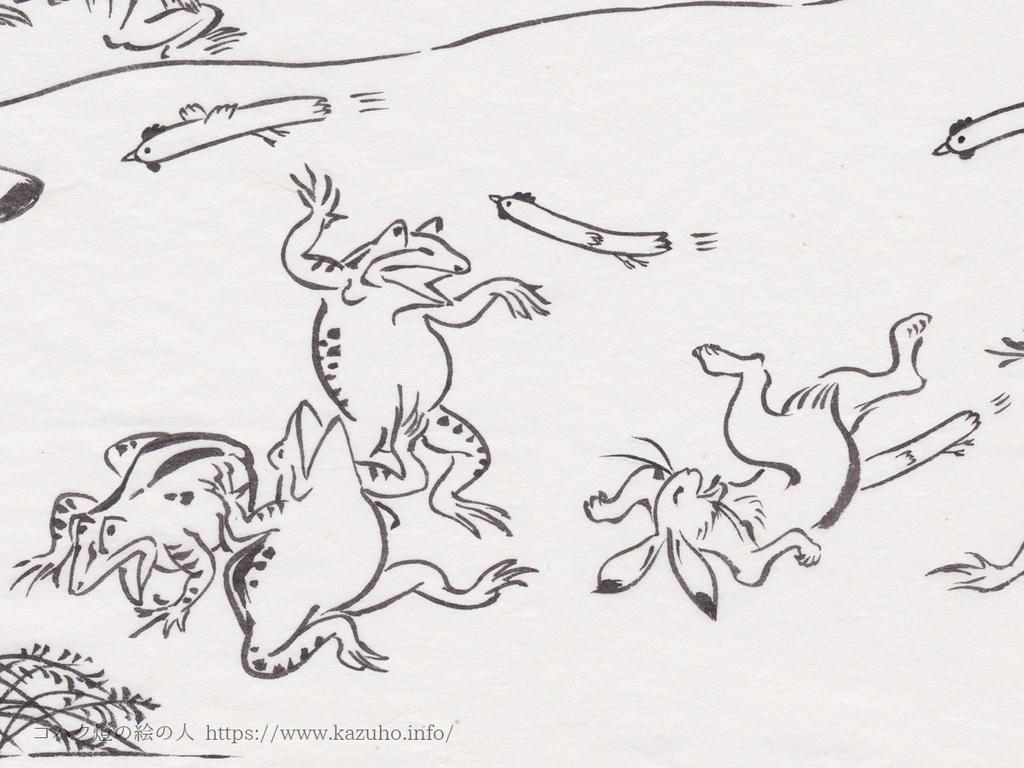 鳥獣戯画の墨絵に棒状の鶏を描き込んでいきます