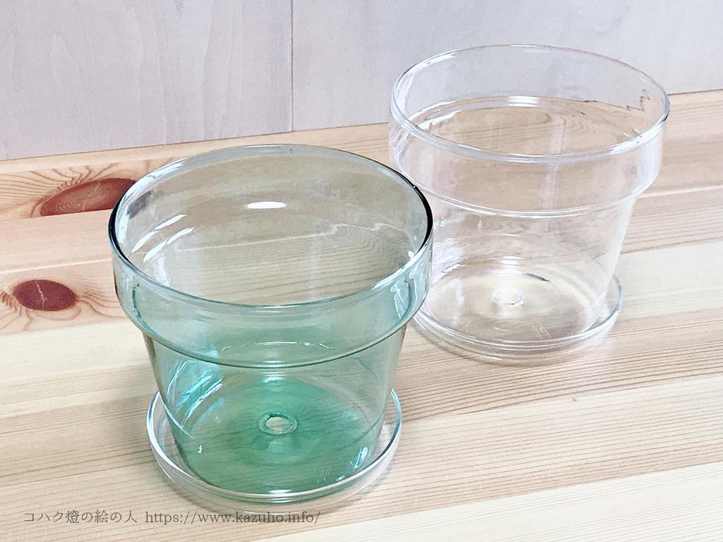 ガラスの透明感と爽やかな色合いが美しい植木鉢