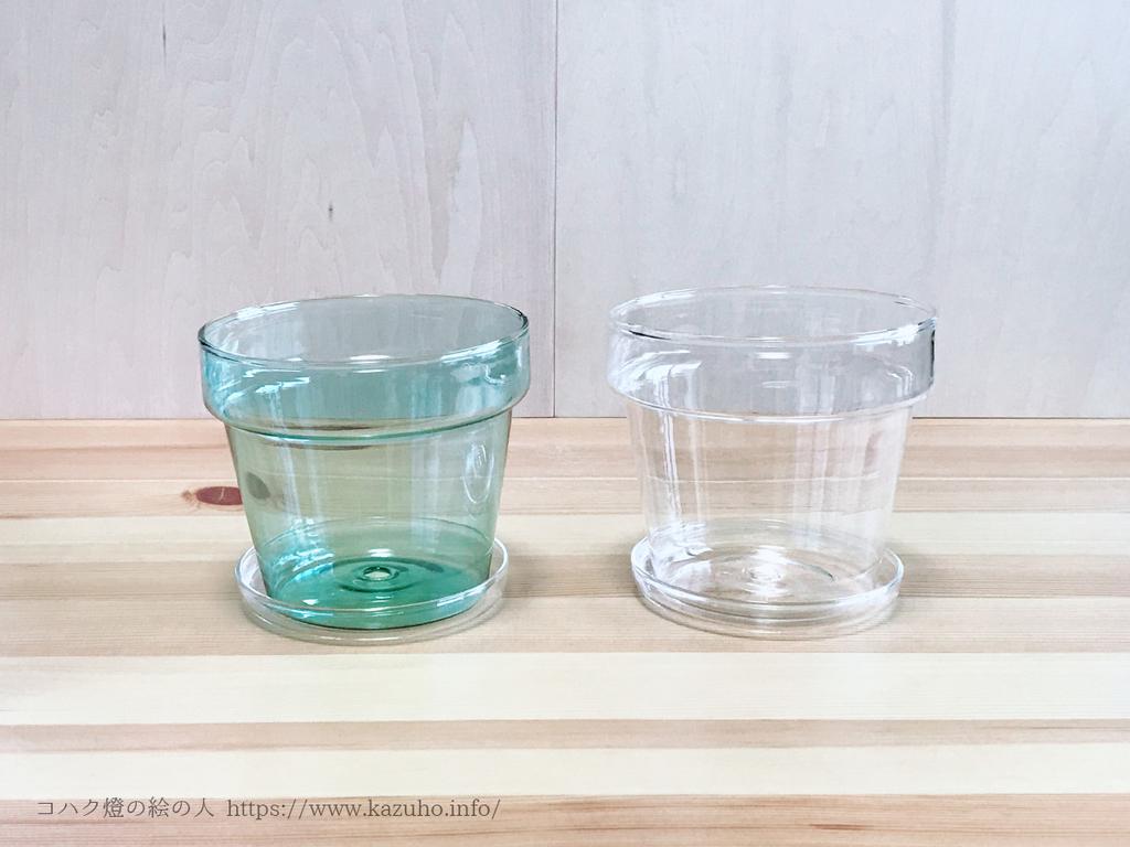 ガラスの植木鉢。グリーンとクリア