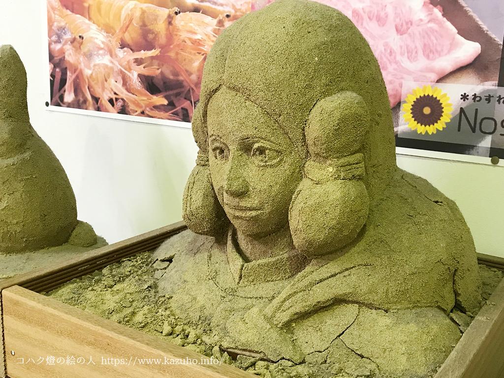 凛々しい顔をした大国主命の砂像