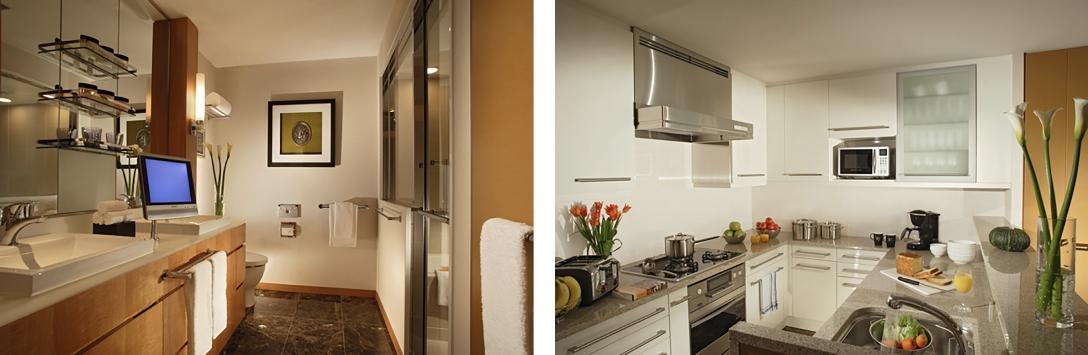 オークウッドプレミア東京ミッドタウンのバスルーム、キッチン