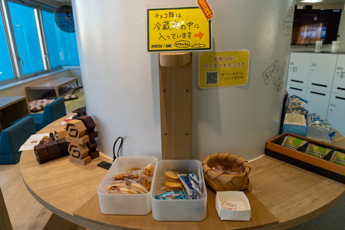 新装開店おやつバー@柱回りスペース 木製の物体は…?