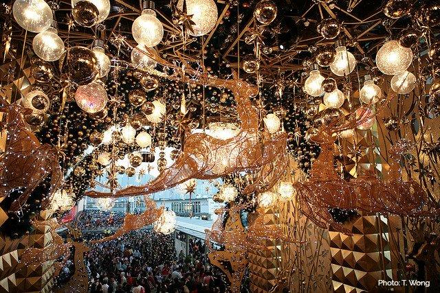 香港クリスマスイルミネーションの写真(ハーバーシティ)