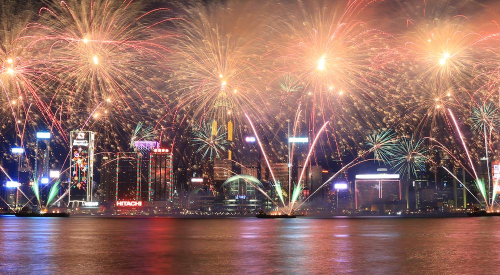 香港の花火イベントカウントダウンの写真