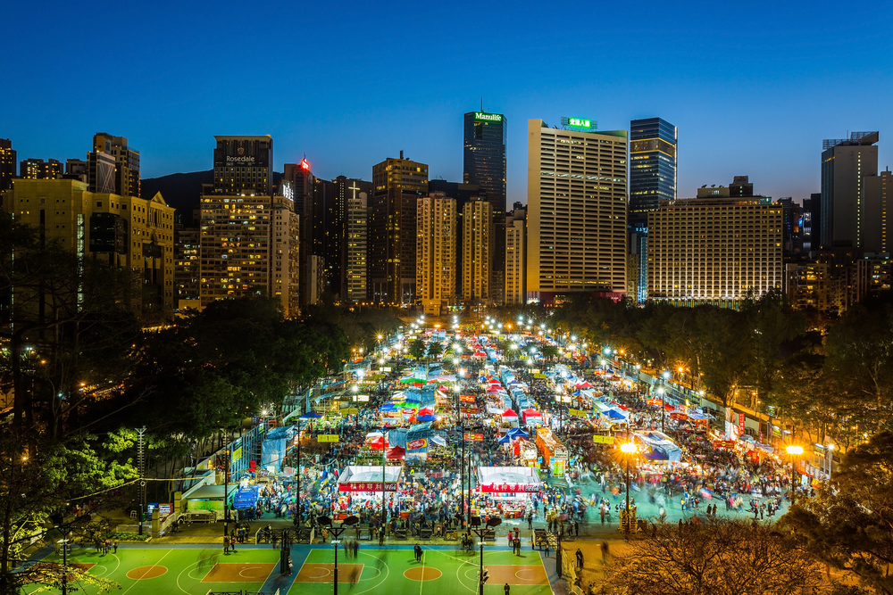 香港旧正月イベントフラワーマーケットの写真