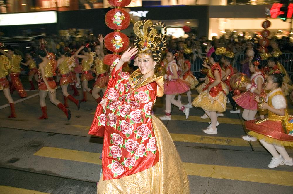 香港の旧正月イベントナイトパレードの写真