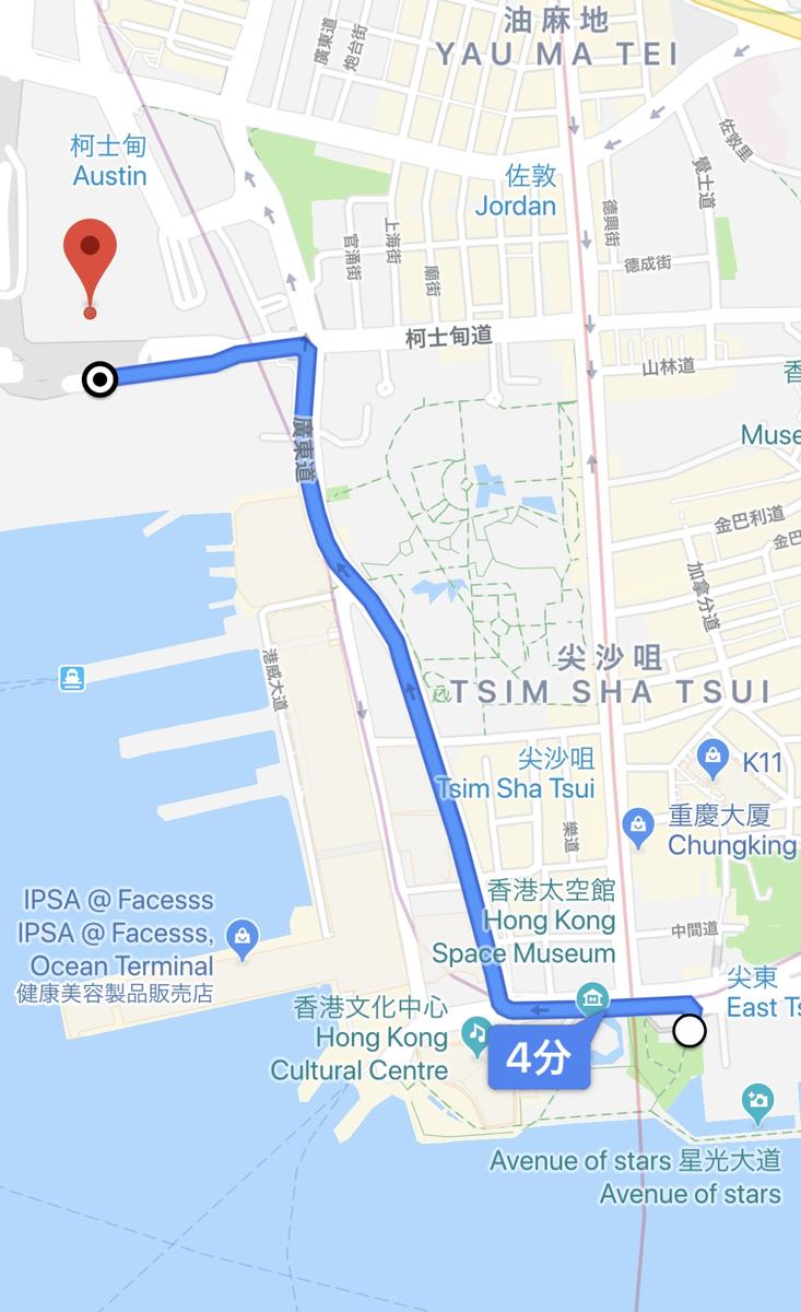 10/20(日)の尖沙咀デモのルート