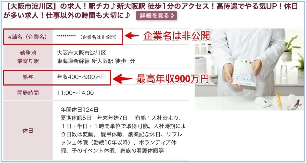 薬剤師の大阪府の高額給与求人