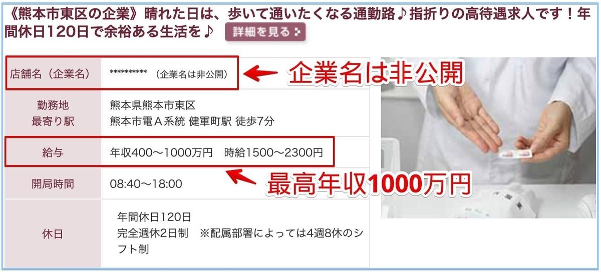 薬剤師の熊本県の高額給与求人