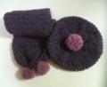 [編み物]変わり玉編みのベレーと長編みのマフラー