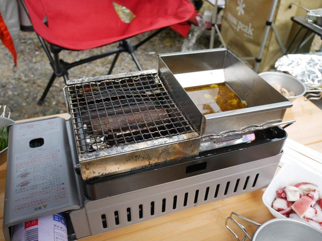 炉ばた大将に熱燗炙り台をセットしてバーニャカウダー