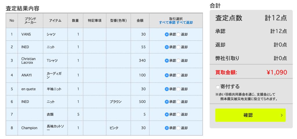 ハグオール査定結果1,090円