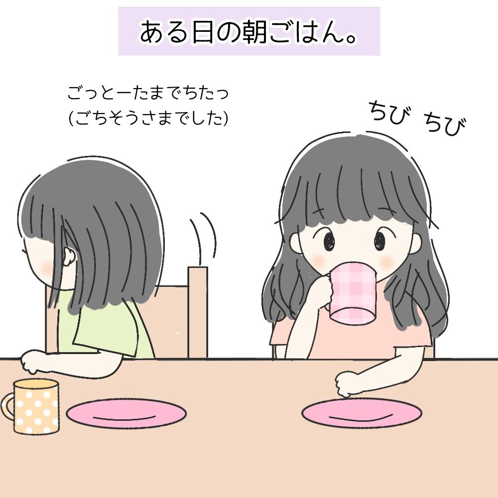 朝ごはんを食べる姉妹たち