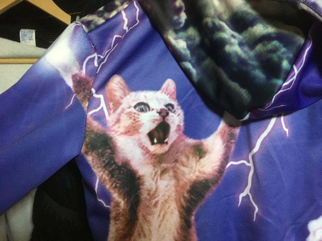 長袖のネコ服(パーカー)