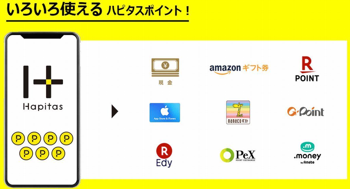 ハピタスポイントは1ポイント1円で換金可能!
