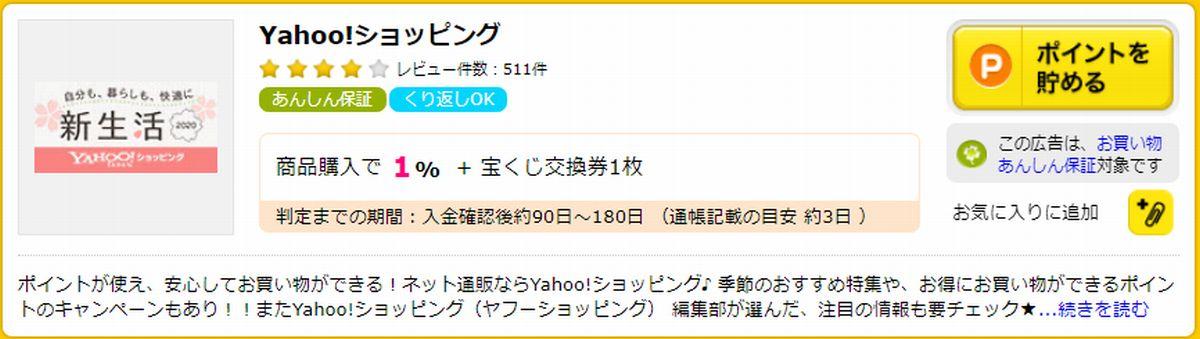 Yahoo!ショッピングはポイントサイト経由で+1%多くポイントがもらえる!