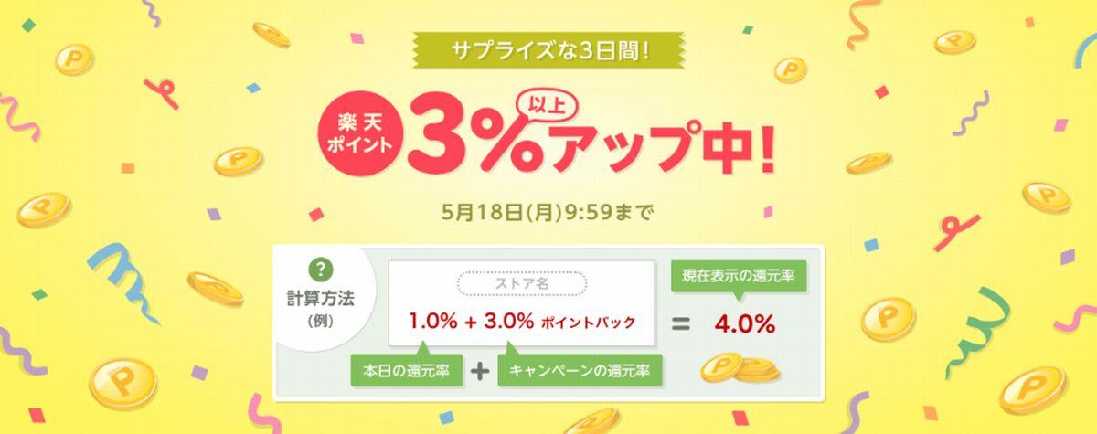 【楽天Rebates】対象ストアの還元率が+3%以上アップするポイントアップキャンペーン開催!