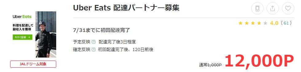 ポイントサイト経由でUber Eats(ウーバーイーツ)のバイトをすると12,000円相当のポイント還元!