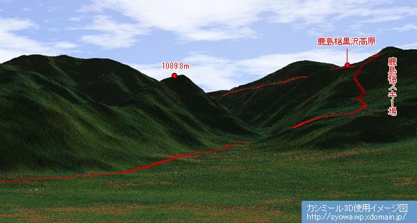 カシバードでほぼ同じ方角から自分の軌跡を照らしあわせてみる。 鹿島槍黒沢高原って現地ではなだらかに見えたけど、ずいぶん高い所にあったんだなーとビックリ。