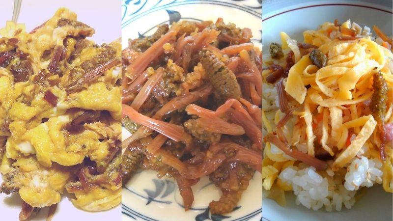 皿に盛りつけたつくしの卵とじ、甘辛煮、ちらし寿司