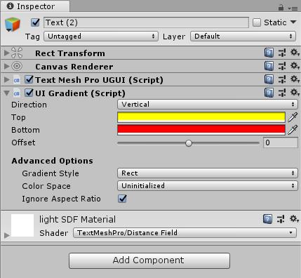 Unity】TextMesh Pro で反転・グラデーション・影・アウトラインが使用