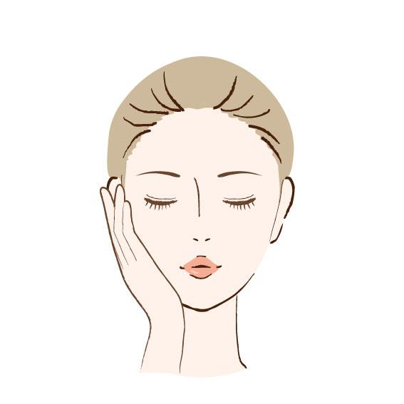 目をつぶった女性が頬に手を当てている顔のイラスト