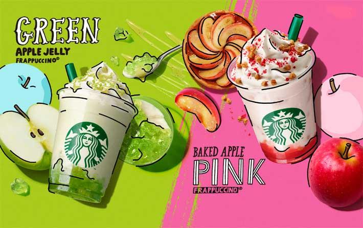 スタバ新作フラペチーノのグリーンアップルジェリーフラペチーノとベイクドアップルピンクフラペチーノを飲み比べてみた♡